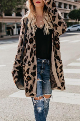 Sheinnow Collarless Flap Pocket  Leopard Printed Cardigans