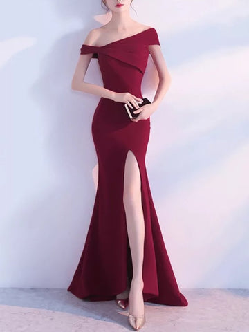 Sheinnow Fashion Boat Neck Pure Colour Slit Evening Dress