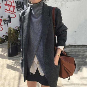Sheinnow Fashionable Pure Color Woolen Suiting Suit Overcoat