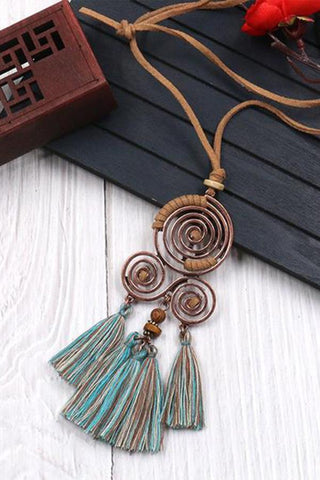 Sheinnow Chinese Style Tassel Necklace