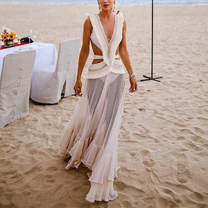 Sheinnow Sexy Deep V Belted See-Through Maxi Dresses
