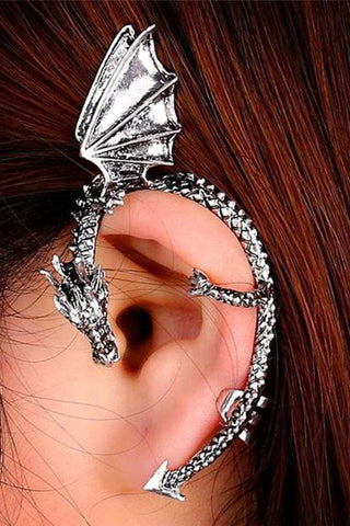 Sheinnow Retro Dragon Ear Pendant Earrings Without Earholes
