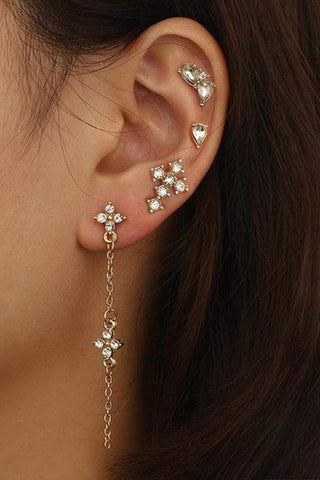 Sheinnow Vintage Fashion Water Diamond Chain Tassel Earrings  Geometry Drop Long Ear Nail Suit