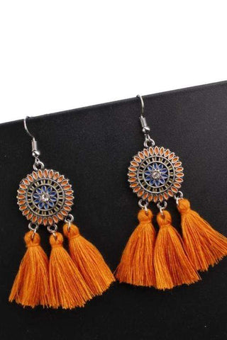 Sheinnow Bohemian Hollow Tassel Earrings Retro Creative Alloy Earrings