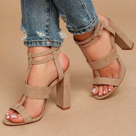 Sheinnow Chunky High Heeled Peep Toe  Date Platform Sandals