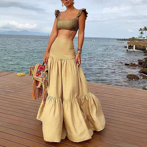 Sheinnow Cute Two Pieces Sling Pleated High-Waist Summer Yellow Maxi Dresses for Women