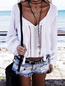 Sheinnow Bohemian Hollow Out Tassel Splicing Pure Colour Blouse