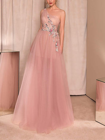 Finalpink Elegant Chiffon Inwrought Sloping Shoulder Evening Dress