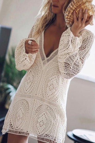 Sheinnow Elegant V Neck Long Sleeve Lace Dress