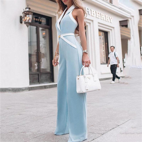 Sheinnow Commuting V Neck Sleeveless Pure Colour Jumpsuits