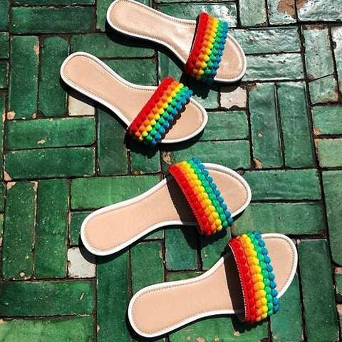 Sheinnow Women's Fashion Rainbow Color Sandals