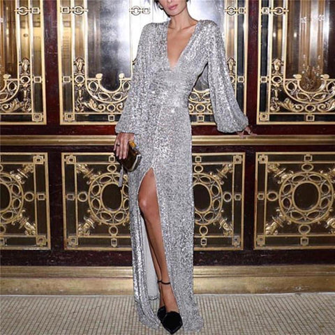 Sheinnow Sexy Deep V-Neck Puff Sleeve Open Sequin Evening Dress