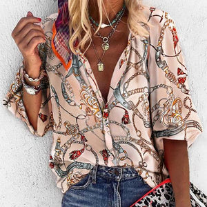 Sheinnow Sweet V Neck Printed Colour Loose Blouse