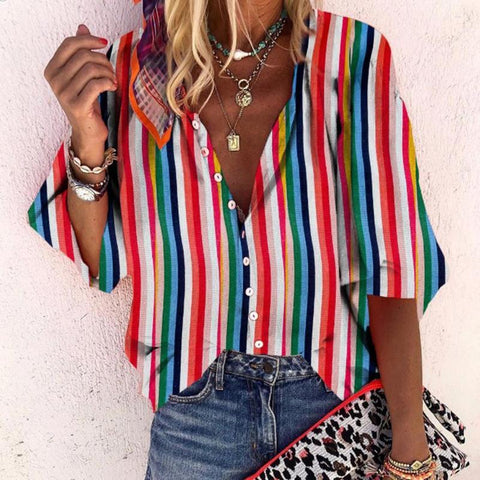 Sheinnow Casual Vertical Striped With Buttons Bracelet Sleeve Shirt