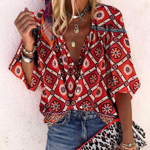 Sheinnow Bohemian V Neck With Buttons Printed Bracelet Sleeve Shirt
