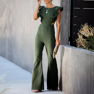 Sheinnow Vintage Ruffled Bare Back Zips Bell-Bottomed Pants Jumpsuit