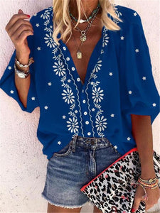 Sheinnow  Floral Print V-Neck Casual Blouse