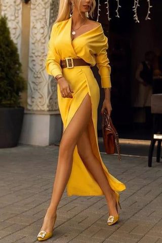 Sheinnow Fashion V-Neck Belt With Split Solid Color Maxi Dress