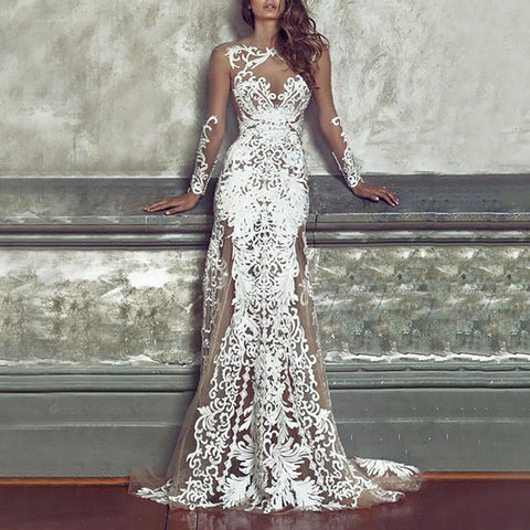 Sexy Long Sleeve See-Through Mesh Embroidery Wedding Dress