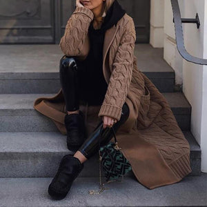 Sheinnow Fashion Pure Colour Splicing Long Sleeve Overcoat