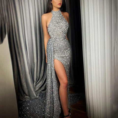 Finalpink Sexy Irregular Hem Silver Halter Evening Dress