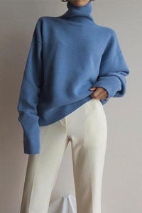 Sheinnow Sweet High Collar Pure Colour Sweater
