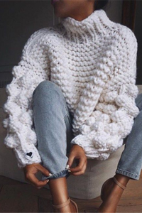 Sheinnow Fashion High Neck Coarse Wool Knit Sweater