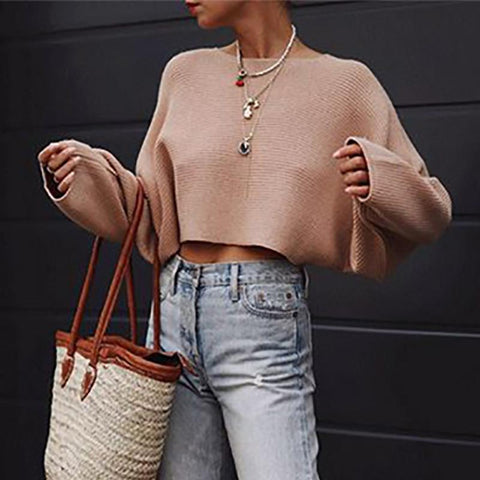 Sheinnow Elegant Round Neck Pure Colour Ultra-Short Sweater