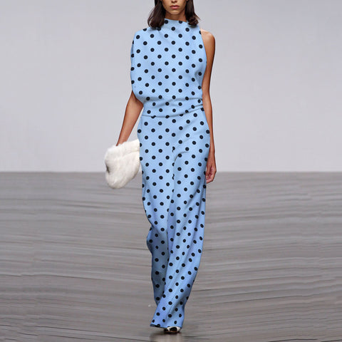 Sheinnow Commuting Asymmetry Sleeve Wave Point Jumpsuit