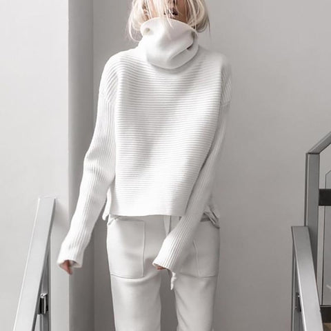 Sheinnow Brief High Collar Long Sleeve Pure Colour Loose Sweater