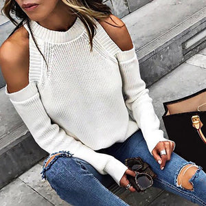 Sheinnow Casual Pure Off-Shoulder Long Sleeve Sweater