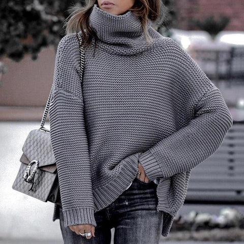 Sheinnow Casual Knit High Collar Long Sleeve Sweater