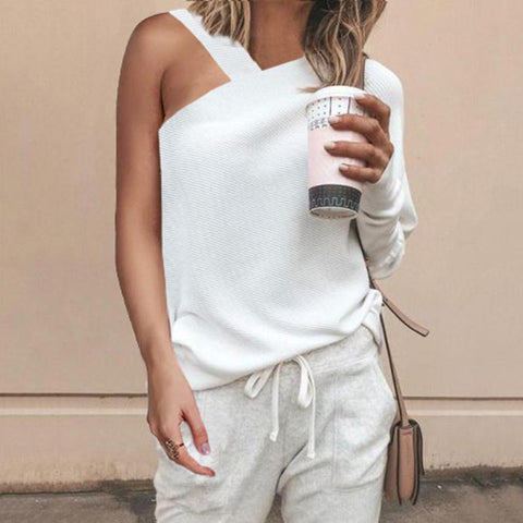 Sheinnow Fashion Sexy Plain Single Shoulder Collar Knit Blouse
