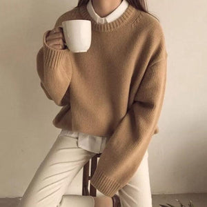 Sheinnow Casual Round Neck Long Sleeve Plain Sweater