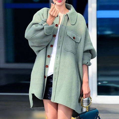 Sheinnow Casual Solid Color Lapel Single-Breasted Long-Sleeved Woolen Coat