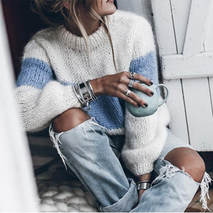 Sheinnow Turtleneck  Color Block Patchwork Sweaters
