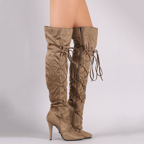 Fashion Decussated Lace-Up Stiletto Heels Thigh-High Boots