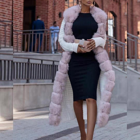 Finalpink Fashion long sleeve color matching plush coat