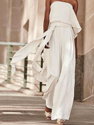 Sheinnow Sexy Pure Colour Belted Off-Shoulder Sleeveless Jumpsuits