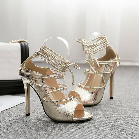 Sheinnow Snakeskin Lace-Up Thin Heeled Sandals