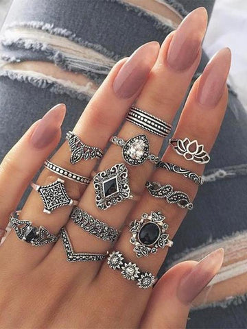 Sheinnow Bohemian   Retro -Ancient Silver -Lotus Women's New Personality Ring Ring Set 15 Piece   Set