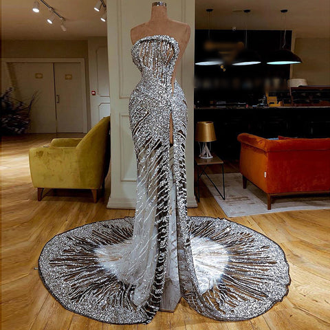 Fashion tube top silver perspective stitching evening dress