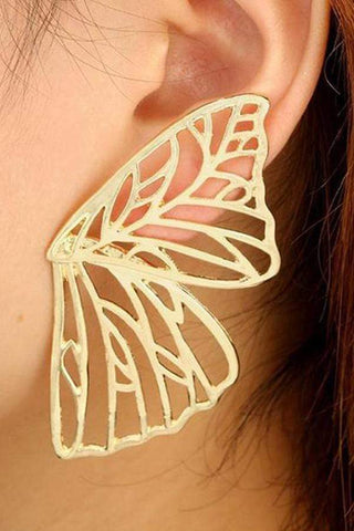 Sheinnow Butterfly Wings Wing Metal Cutout Earrings