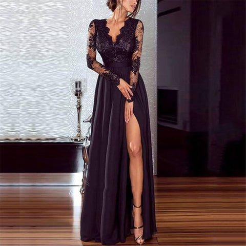 Sheinnow Sexy v-neck lace split evening dress