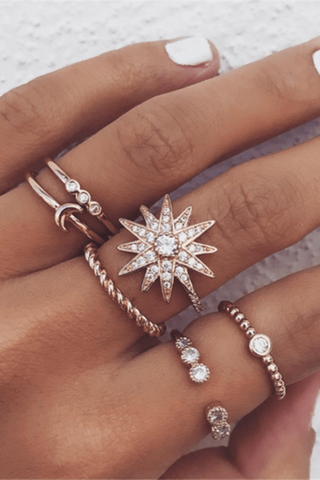 Sheinnow Popular personality stars moon ring set