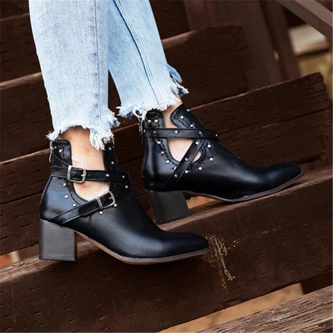 Punk style ladies rivet side hollow ankle boots