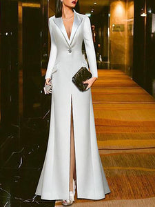 Sheinnow White Suit Evening Dress