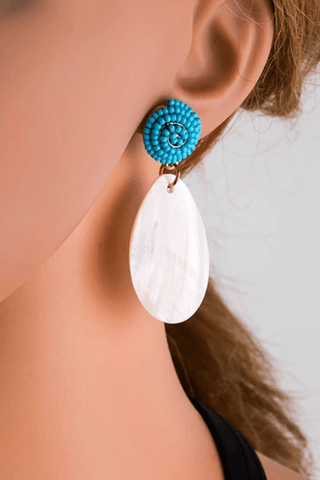 Sheinnow New Earrings Inlaid Beads Acrylic Petals Water Drops Long Shell Earrings Earrings