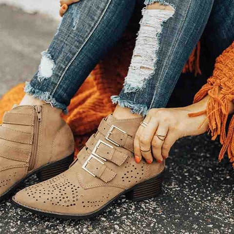 Women's casual solid color hollow side zipper ankle boots