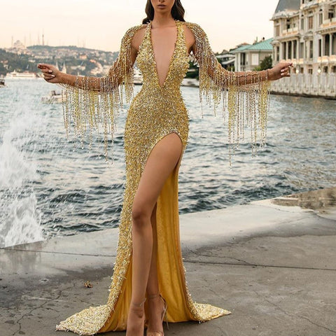 Finalpink Sexy lady deep V-neck tassel slit dress